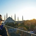 Istanbul blue mosque sunset