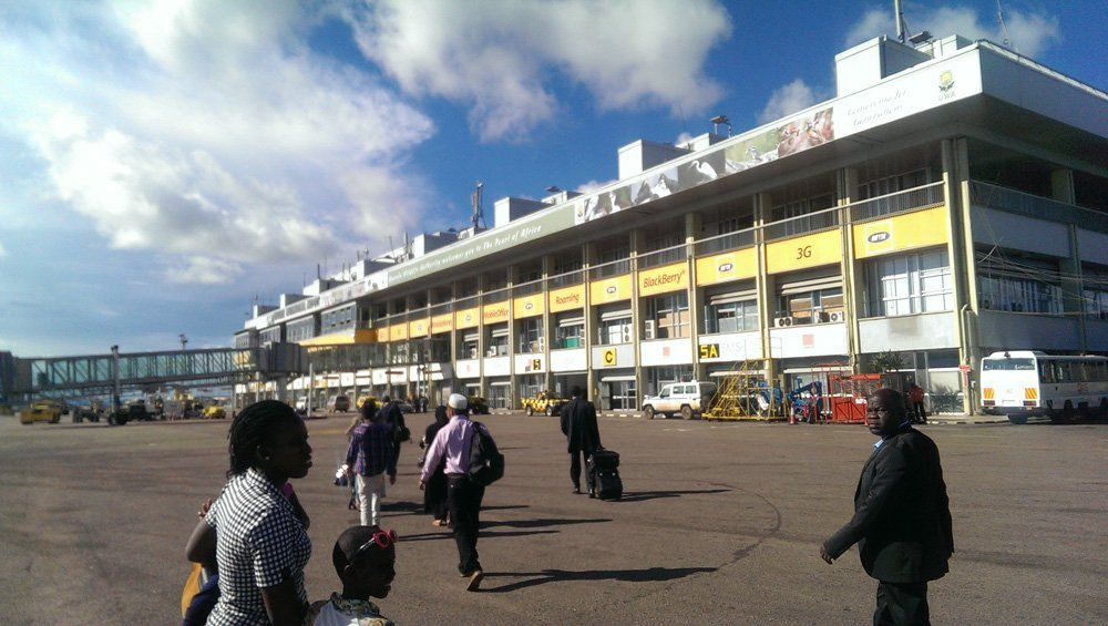 Arriving at Entebbe Airport