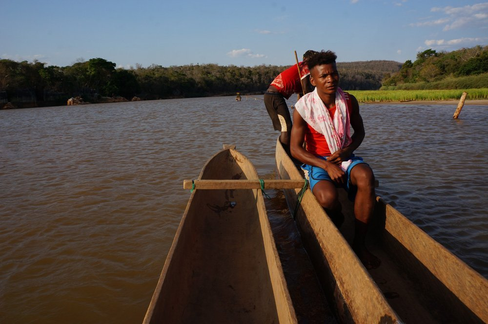 """At the second """"ferry"""" stop, we didn't want to wait anymore, so we hired our own private pirogue (canoe)"""