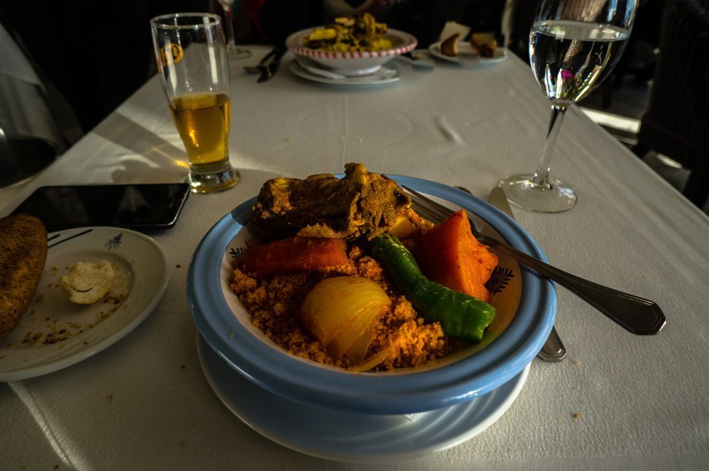 Coucous lunch at a restaurant in Sidi Bou Said.
