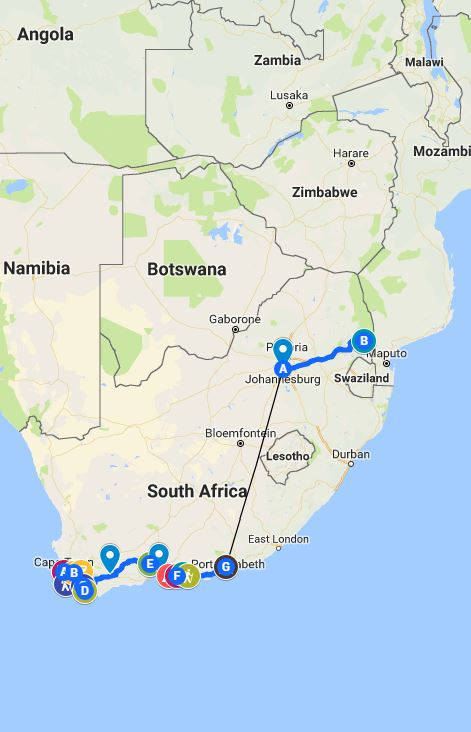 south africa travel itinerary one week two week three week