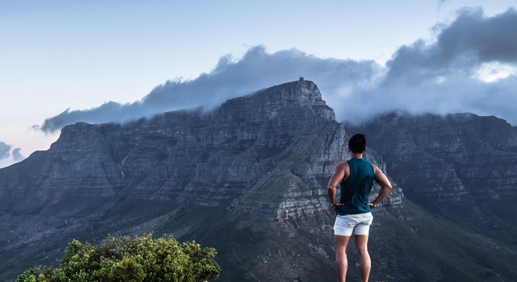 View of Table Mountain from the top of Lion's head