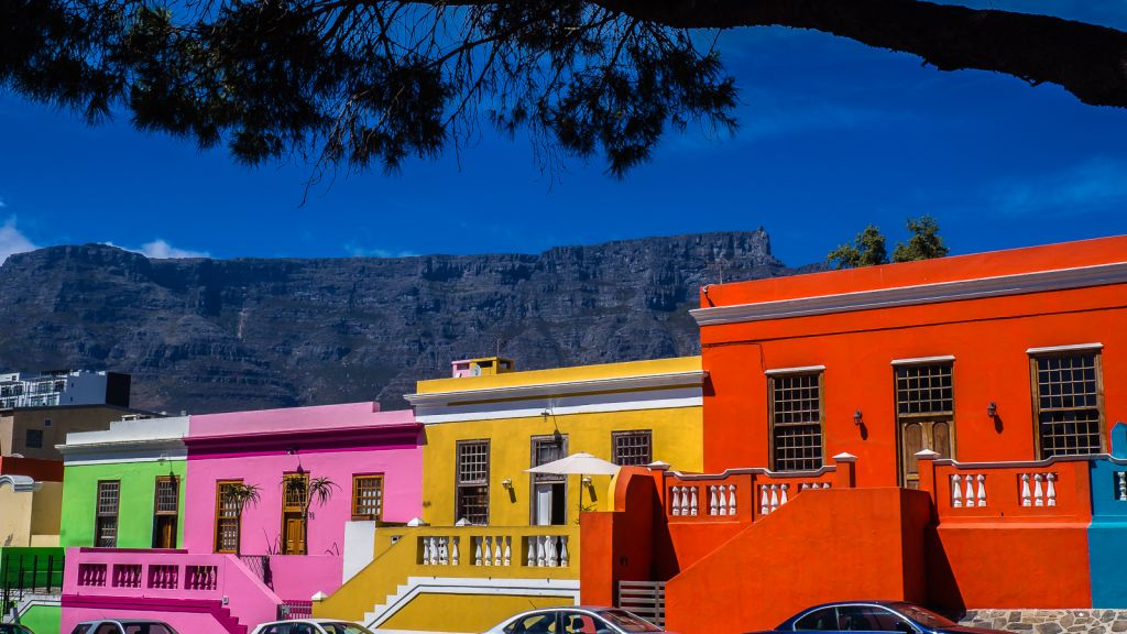 Bo Kaap with table mountain the distance