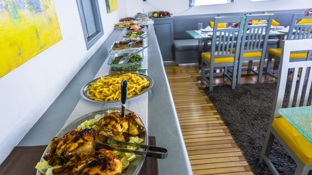 The food spread on any given day. It was absolutely delicious. samira discovery