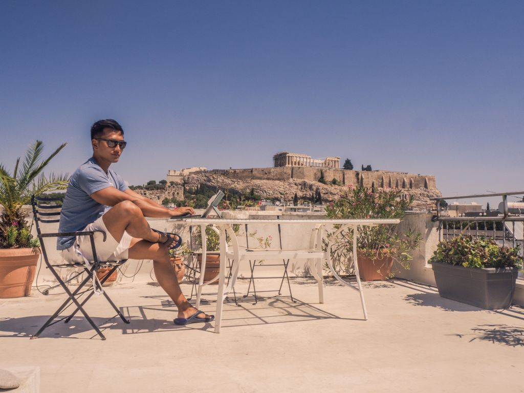 Athens rooftop view of acropolis airbnb